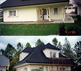 Fasada vzorčne hiše v Gradbenem centru v Ljublajani