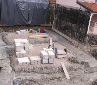 podložni beton temeljev je izdelan